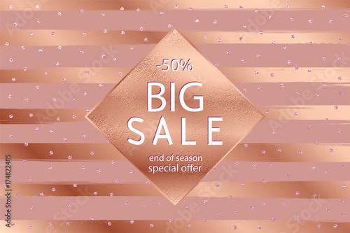 Sale fall gold banner . Vector illustration with golden frame .