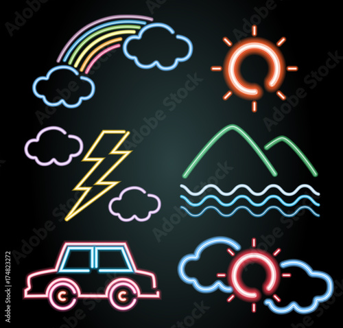 Neon light design for car and nature elements