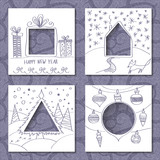 Vector set of four templates for paper Christmas cards. White squares with holes in the form of figures and manual festive drawing in foreground. Seamless blue decorative pattern on background. - 174823666