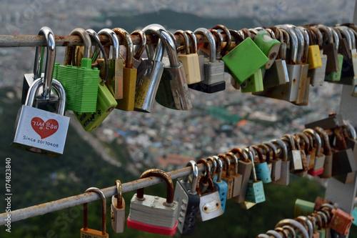 The padlocks of love found in Apsan Park, Daegu, Korea Poster