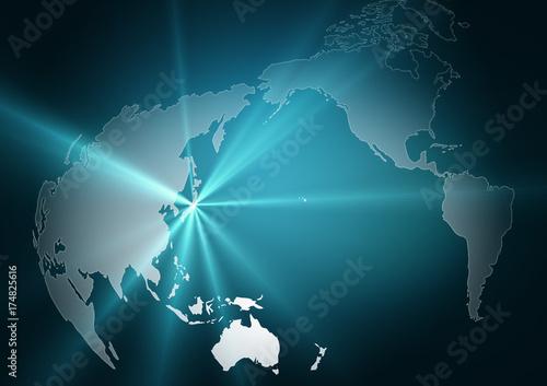 Fotobehang Wereldkaarten 世界地図/地球