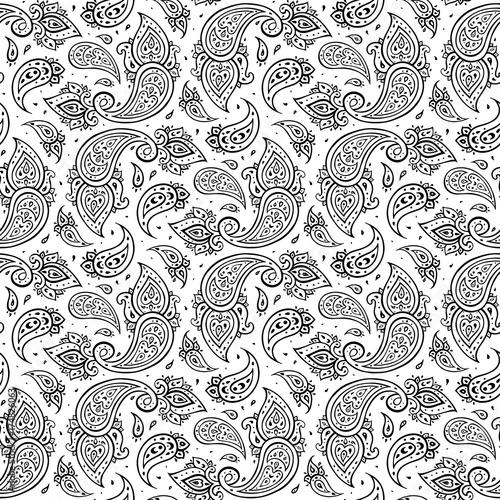 Cotton fabric Paisley Ethnic ornament.