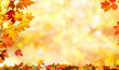 Leinwanddruck Bild - autumn background with maple leaves