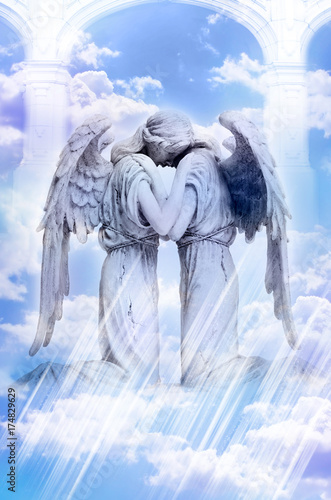 two angels in hug with white pillars and mystic cloudy sky Poster