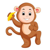 Little funny baby wearing monkey suit