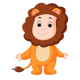 Cute baby wearing a lion suit