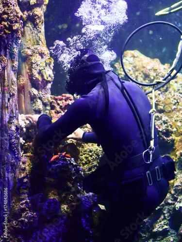 Diver doing maintenance work underwater Poster