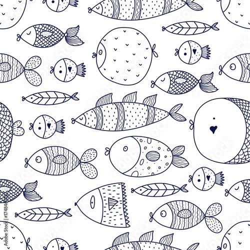 Fototapeta Cute fish. Vector seamless pattern.