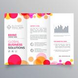 creative circles tri fold brochure template design for business presentation - 174848213