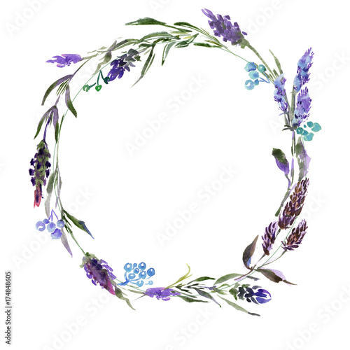 Wreath romantic watercolor purple Summer flowers frame - 174848605