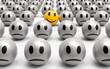 Einer ist anders, gelber lächelnder Smiley inmitten grauer Monotonie