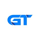 gt logo initial logo vector modern blue fold style