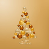 Christmas Tree from Golden Balls Background for your Greetings Card, Flyers, Invitation, Brochure, Posters, Banners, Calendar in vector - 174858086