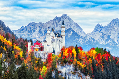 Germany. Neuschwanstein castle in Bavaria land. Beautiful autumn scenery. Neuschwanstein castle is famous and very popular travel destination in Europe.