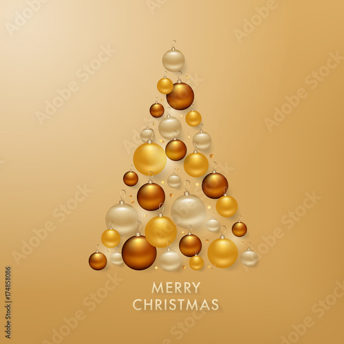 In de dag Bol Christmas Tree from Golden Balls Background for your Greetings Card, Flyers, Invitation, Brochure, Posters, Banners, Calendar in vector