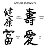 Chinese characters. Health, Wealth, Longevity, Love. Vector illustration. - 174863604
