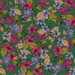 Seamless floral pattern with exotic flowers - 174867067