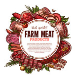 Vector sketch farm fresh meat butchery poster - 174867857