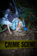 crime scene, woman playing dead, lying on the ground