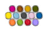 An arrangement of 13 colourful paint pots. - 174874400