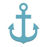 Anchor flat icon, navigation and nautical, naval sign vector graphics, a colorful solid pattern on a white background, eps 10.