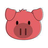 pig animal face cartoon icon image vector illustration design  - 174875804