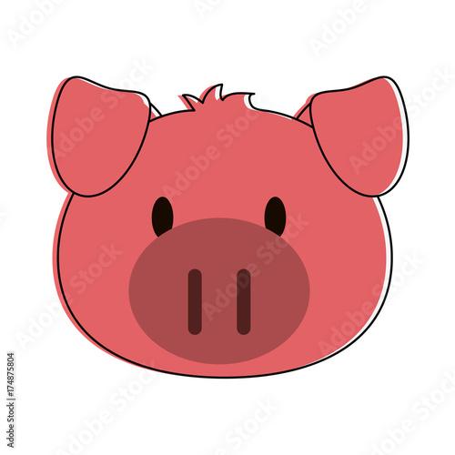 pig animal face cartoon icon image vector illustration design