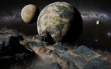 alien landscape with planet, moons and the Milky Way galaxy - 174877444