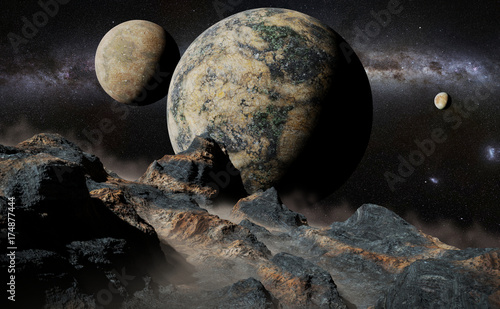 alien landscape with planet, moons and the Milky Way galaxy