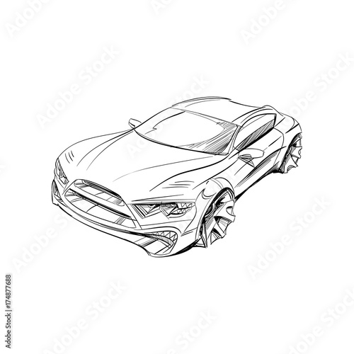Car Concept Car Sketch Vector Hand Drawn Autodesign Automobile