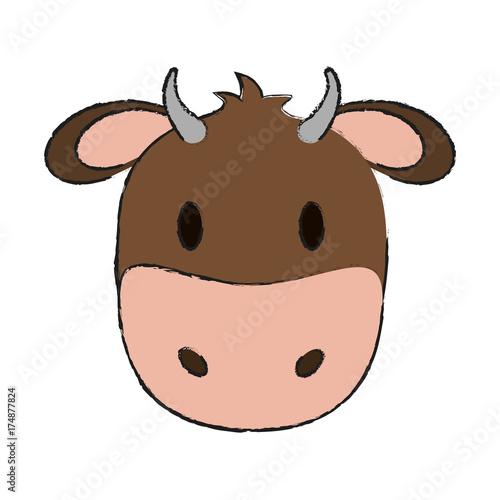 cow or bull animal face cartoon icon image vector illustration design