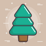 pine tree icon over brown background colorful design vector illustration