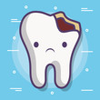 broken tooth icon over white background colorful design vector illustration
