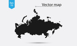 Simple Map Silhouette Of Russia. Vector Illustration