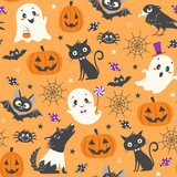 Halloween seamless pattern with cute pumpkins, ghosts, black cat, bats, raven, skin-walker and sweets on orange background. - 174885009