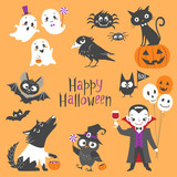Set of cute Halloween characters.  Pumpkin, ghosts, bats, black cat, raven, spiders, vampire, skin-walker and owl isolated on orange background. - 174885018