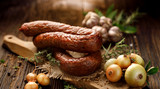 Smoked  sausage on a wooden rustic table with addition of fresh aromatic herbs and spices, natural product from organic farm, produced by traditional methods - 174886039