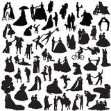 Wedding couples. Set of silhouettes.