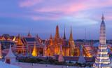 Bangkok Wat Phra Keao and the Grand palace with sunset beautiful sky. - 174896290