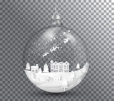 Fototapety Xmas and happy new year glass ball on transparent background, paper art landscape with tree and house design. vector illustration