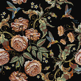 Roses embroidery seamless pattern. Classical embroidery vintage buds of roses and humming birds. Fashionable template for design of clothes, t-shirt design, tapestry flowers renaissance style - 174901804