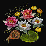 Water lily embroidery. Classical embroidery lotus and water pink and white lilies, template fashionable clothes, t-shirt design, print vector - 174901824