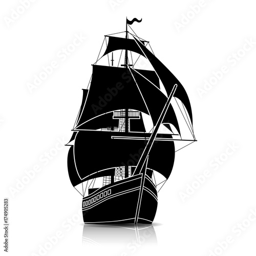 Fototapeta silhouette vintage sailing ship with reflection