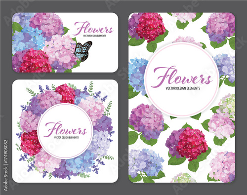 Colorful hydrangea flower with a butterfly and lavender on white background. Vector set of blooming floral for wedding invitations and greeting card design.