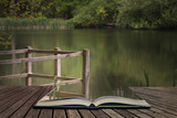 Shallow depth of field landscape image of vibrant peaceful Summer lake in English countryside concept coming out of pages in open book - 174907636