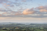 Beautiful dawn landscape over Somerset Levels in English countryside - 174908446