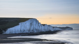 Beautiful dawn landscape of Seven Sisters cliffs landmark on English coast - 174908602