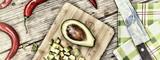 A ripe avocado cut