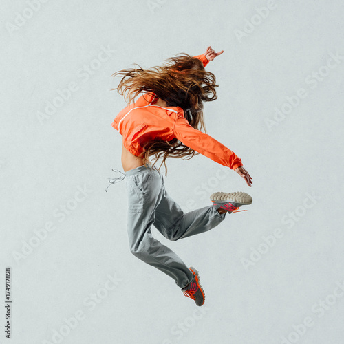 Fotobehang Fitness Modern style dancer jumping