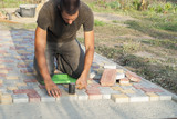 laying of paving slabs - 174915486